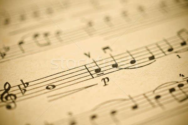 Música clássica notas vintage papel folha raso Foto stock © Arsgera