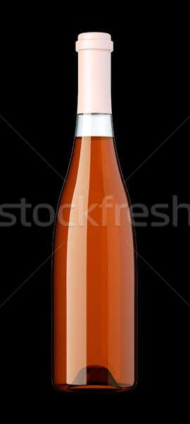 Bouteille brandy cognac isolé noir fête Photo stock © Arsgera