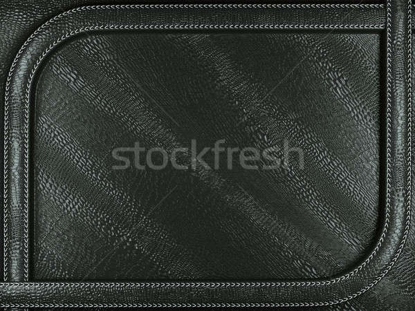 Black mock croc or alligator skin background with stitched patte Stock photo © Arsgera