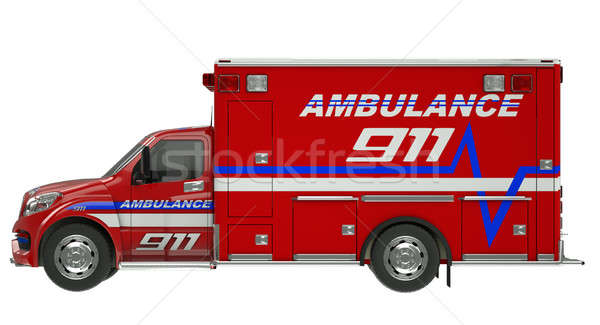 Stock photo: Ambulance: Side view of emergency services vehicle over white
