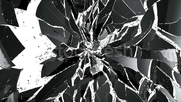 Pieces of splitted or cracked glass isolated on white Stock photo © Arsgera