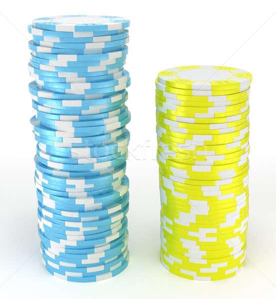 Foto d'archivio: Blu · giallo · roulette · chip · casino · bianco