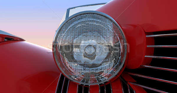 Headlight and hood of red retro car Stock photo © Arsgera