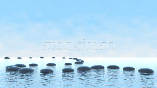Harmony concept. Pebble path on water  Stock photo © Arsgera