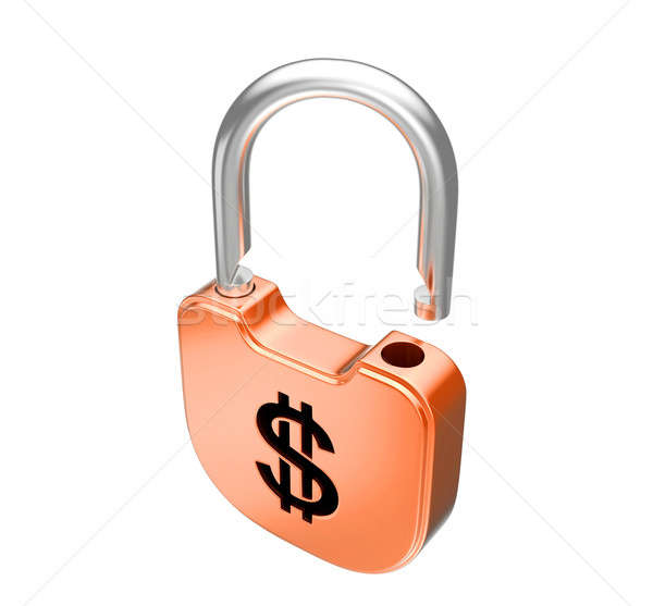 Stock photo: Unlocked US dollar currency padlock