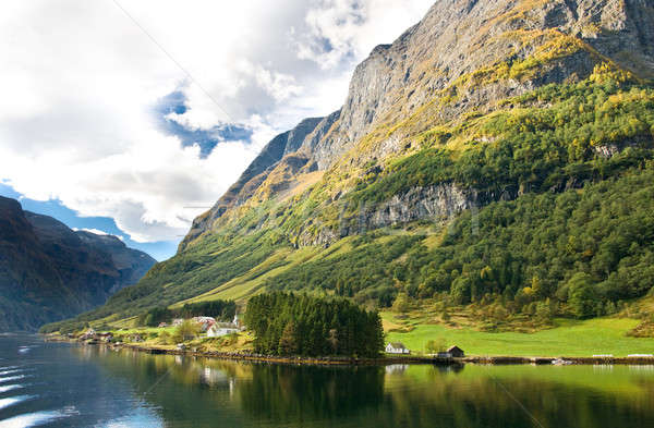 Norwegian fjords: Mountains, village Stock photo © Arsgera