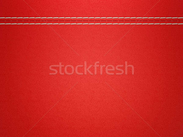 Stitched red leather background Stock photo © Arsgera