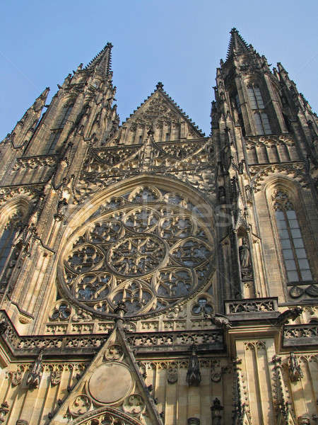 Facade of Saint Vitus Cathedral in Prague Stock photo © Arsgera