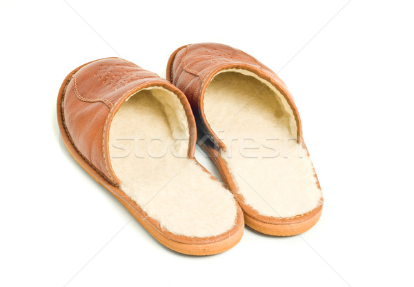 Mens brown leather slippers Stock photo © Arsgera