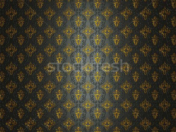 Black material with golden victorian ornament Stock photo © Arsgera