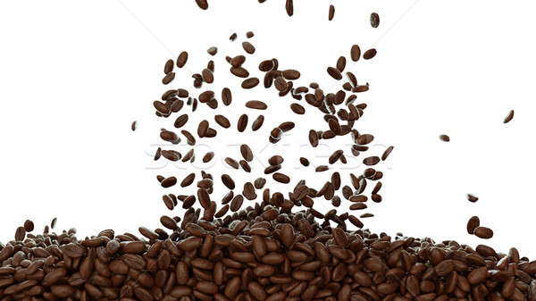 Filling the frame with roasted coffee beans isolated  Stock photo © Arsgera