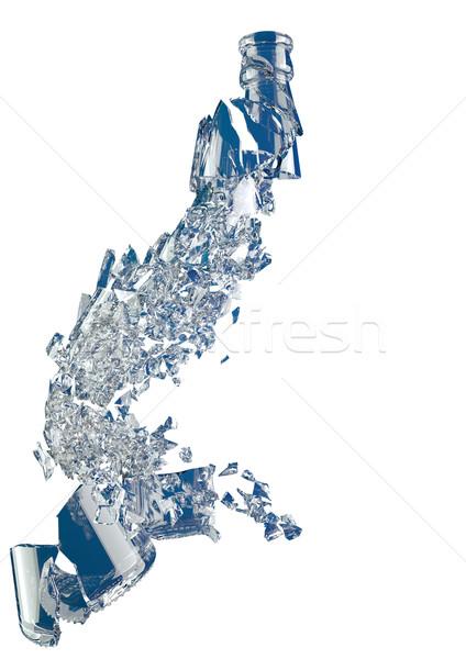 Pieces of demolished empty blue bottle isolated Stock photo © Arsgera
