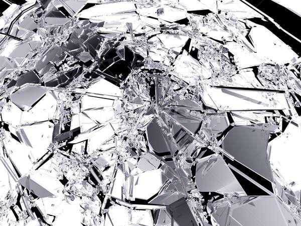 Muitos peças quebrado vidro quebrado preto grande Foto stock © Arsgera
