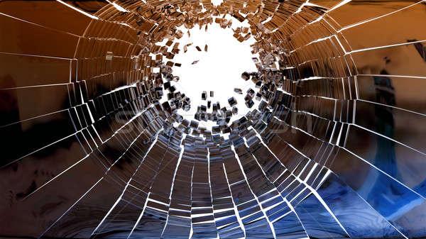 Bűnügyi helyszín darabok törött tükör üveg izolált Stock fotó © Arsgera