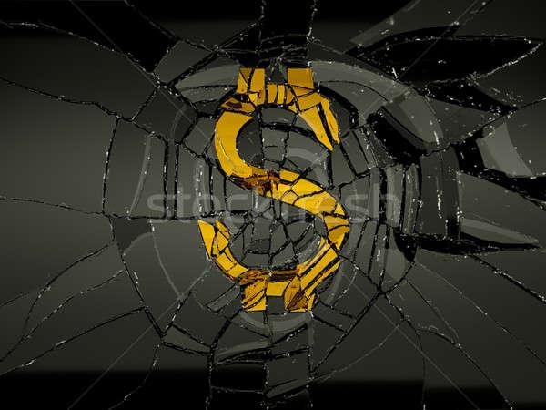 Demolished dollar symbol and broken glass Stock photo © Arsgera