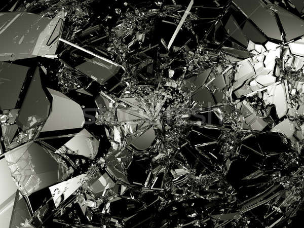 Pieces of Shattered glass on black background Stock photo © Arsgera