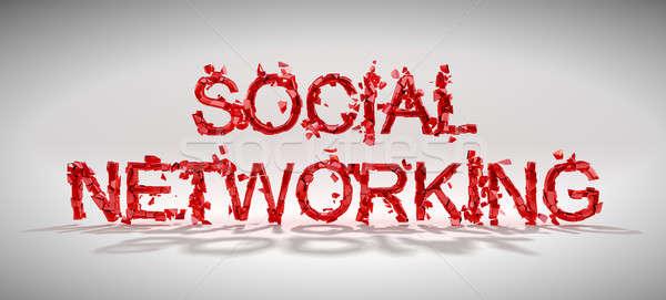 Sociale netwerken kwetsbaarheid woord vernietiging grijs Stockfoto © Arsgera
