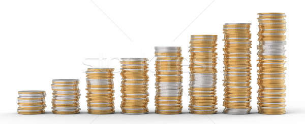 Stock photo: Progress and wealth: golden and silver coins