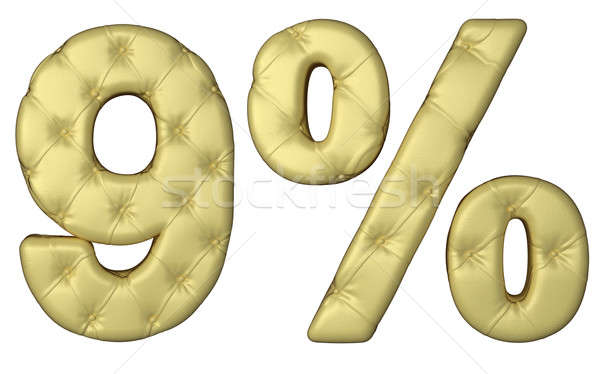 Luxury beige leather font 9 numeral and percent Stock photo © Arsgera
