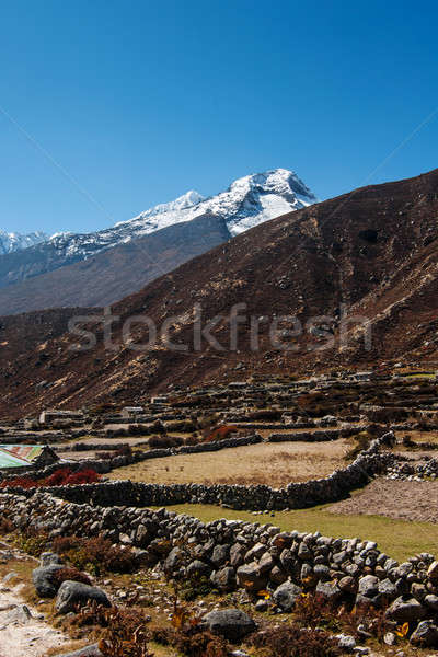Himalaya landscape: snowed peaks and sherpa village Stock photo © Arsgera
