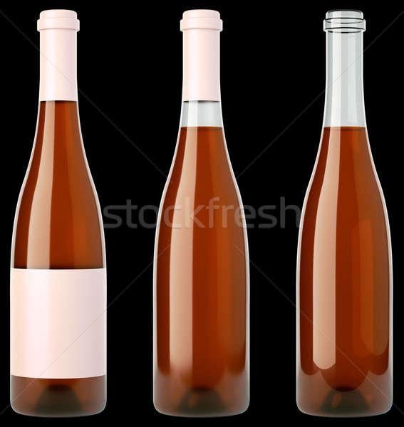 Tres botellas vino brandy negro Foto stock © Arsgera