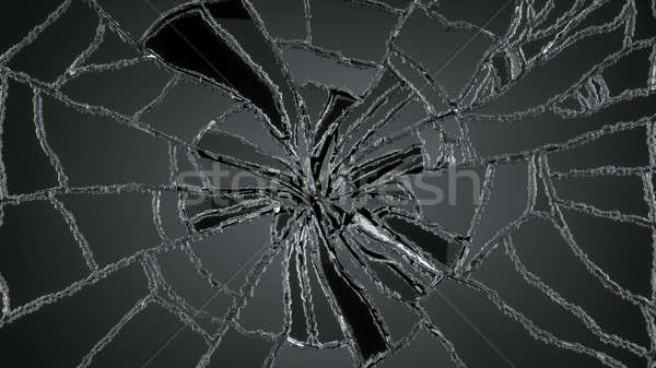 Cracked or Shattered glass on black Stock photo © Arsgera