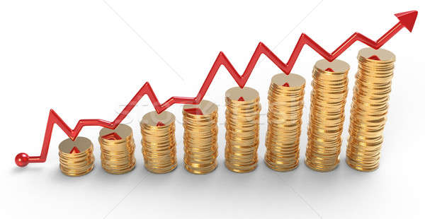 Stock photo: Progress: red graph over golden coins stacks