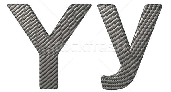 Carbon fiber font Y lowercase and capital letters Stock photo © Arsgera