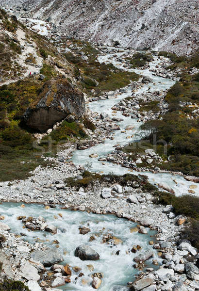 Serpentine stream and rocks in Himalayas Stock photo © Arsgera