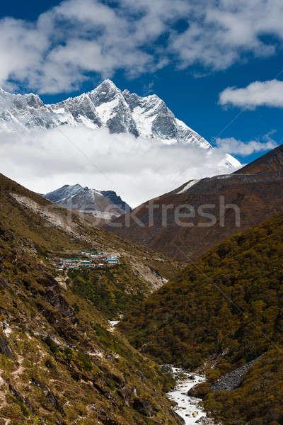 Köy dere himalayalar gökyüzü dağ buz Stok fotoğraf © Arsgera