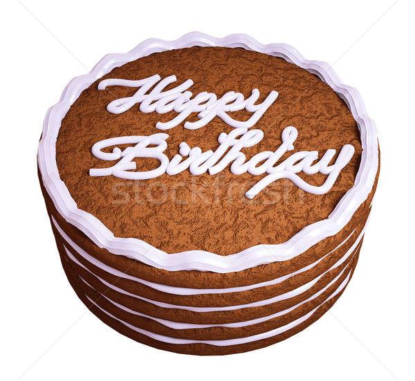 Boldog születésnapot csokoládés sütemény izolált fehér születésnap torta Stock fotó © Arsgera
