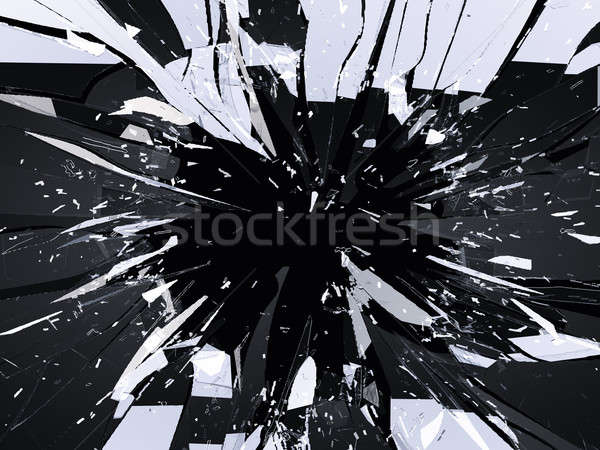 Demolished or Shattered glass isolated on black Stock photo © Arsgera