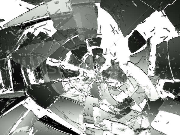 Destructed and cracked glass on white Stock photo © Arsgera