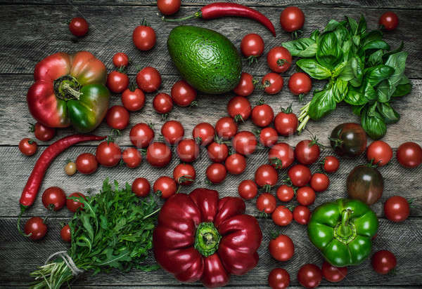 Foto stock: Verduras · frescas · mesa · de · madera · rústico · estilo · hortalizas · tomates
