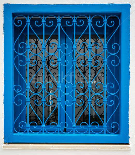 Tradicional azul janela parede rua branco Foto stock © Arsgera