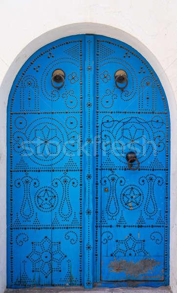 Kék hagyományos ajtó ív kultúra építészet Stock fotó © Arsgera