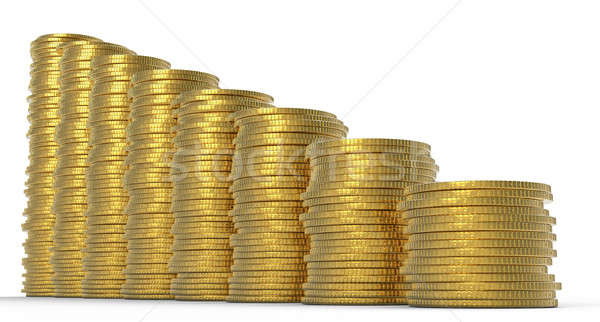 Stock photo: Progress or drop: golden coins stacks