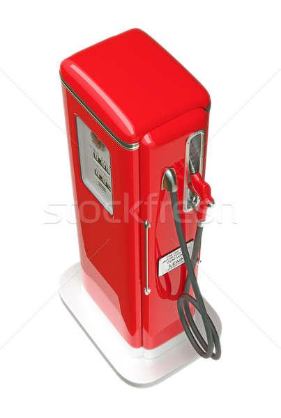 ретро красный бензина насос изолированный белый Сток-фото © Arsgera