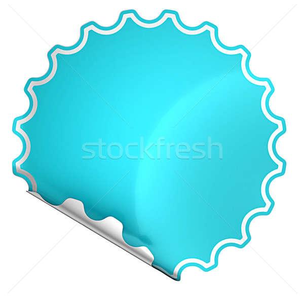 Blue bent round sticker or label  Stock photo © Arsgera