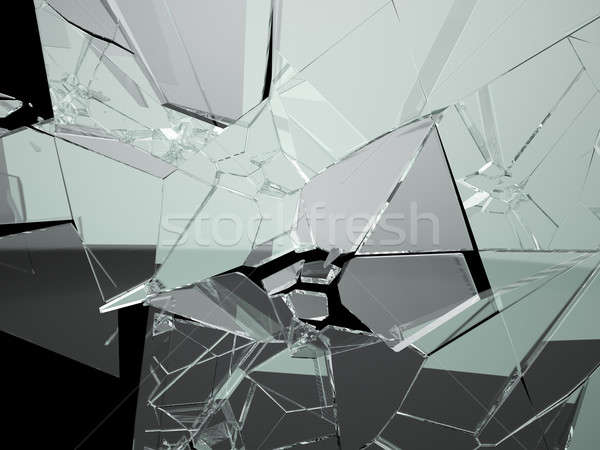 Muitos grande peças vidro quebrado isolado preto Foto stock © Arsgera