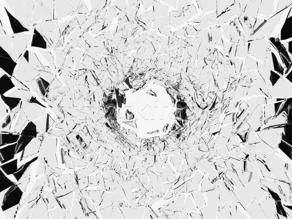 Shattered white glass: sharp Pieces and hole  Stock photo © Arsgera