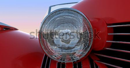 Headlight and engine jacket of red retro car Stock photo © Arsgera