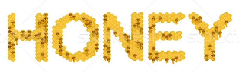 Bal sarı petek harfler tatlı gıda beyaz Stok fotoğraf © Arsgera