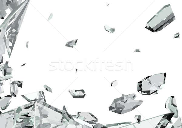 Scherp stukken glas geïsoleerd witte abstract Stockfoto © Arsgera