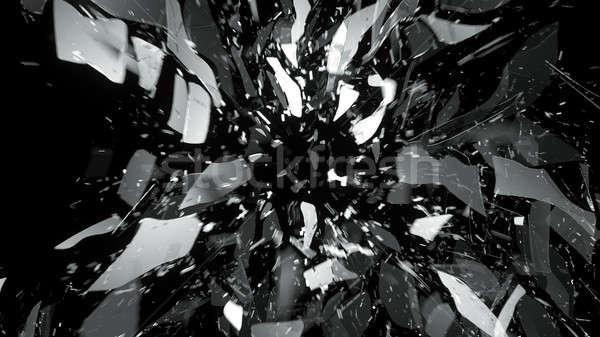 Vidro quebrado preto grande abstrato Foto stock © Arsgera