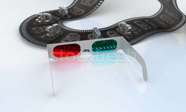 3D TV - glasses and abstract film Stock photo © Arsgera