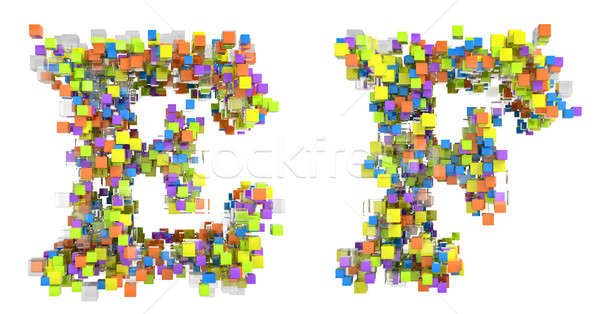 Abstract cubes font E and F letters isolated Stock photo © Arsgera