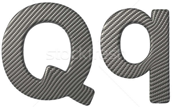 Carbon fiber font Q lowercase and capital letters Stock photo © Arsgera