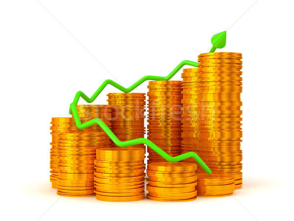 Profit: green graph over golden coins stacks  Stock photo © Arsgera