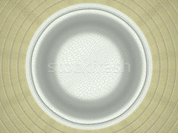 Beige and white stitched circle shape on leather Stock photo © Arsgera